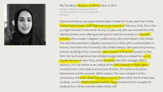 Shamma Al Maazrui, Rhodes Scholar, Oxford, UAE Embassy Washington, D.C., Abu Dahabi, Stern School, LCN Capital Partners. American Academy of Achievement aka British Pilgrims Society, Washington, D.C. subsidiary.