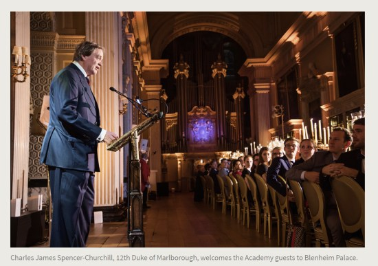 Press Release. (Oct. 10, 2017). 52nd International Academy of Achievement, London and Oxfordshire, keynote speaker Neil Gorsuch. U.S./UK Pilgrims Society. (Charles James Spencer-Churchill, 12th Duke of Marlborough, welcomes the Academy guests to Blenheim Palace.)