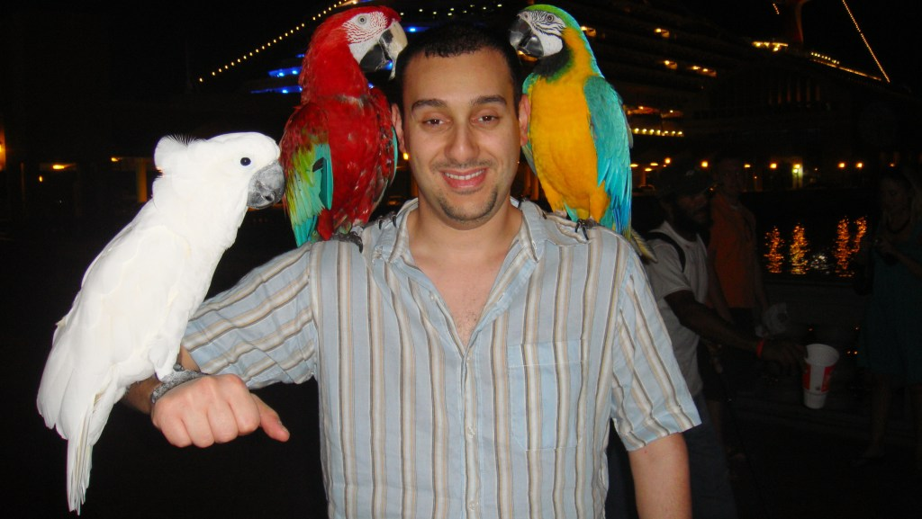 aiman with parrots