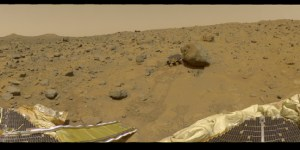 Panoramic view of Mars from NASA's Pathfinder rover.