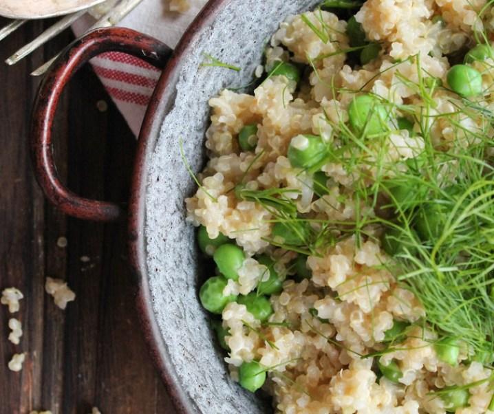 Risotto de quinoa aux petits pois et fenouil {vegan}