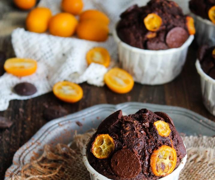 Muffins chocolat et kumquats {sans gluten – sans lait}