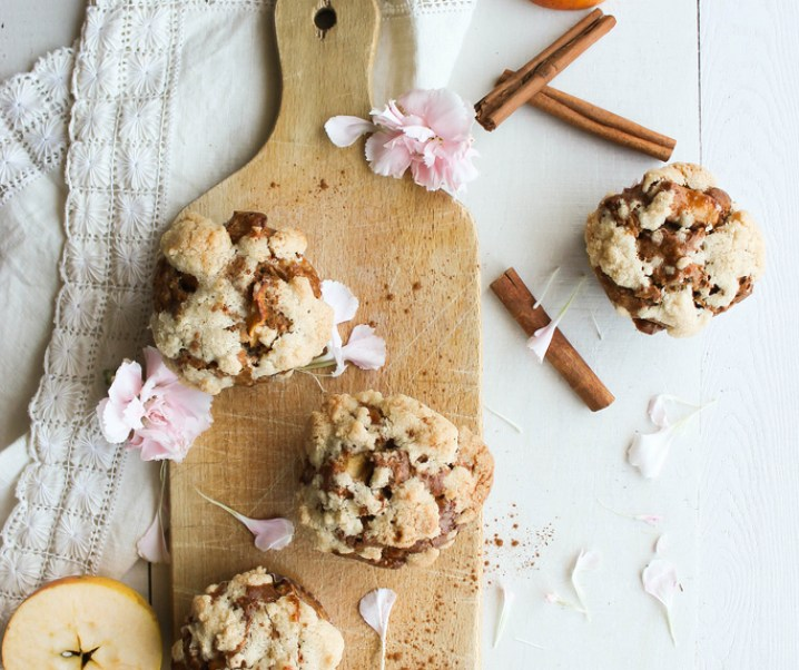 Muffins aux pommes et streusel {zonder melk}