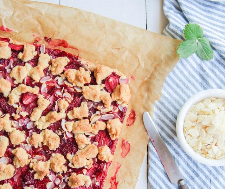 Carrés aux fraises et aux amandes {vegan}