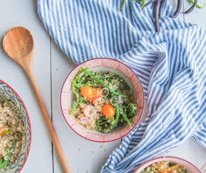 Salade de haricots verts, quinoa et tomates {sans gluten – vegan}