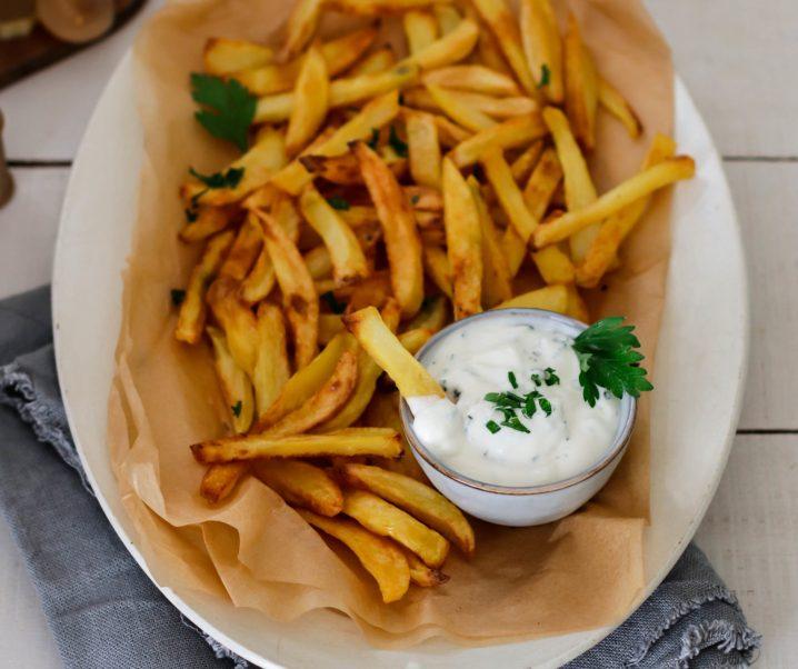 Frites au four et mayonnaise vegan