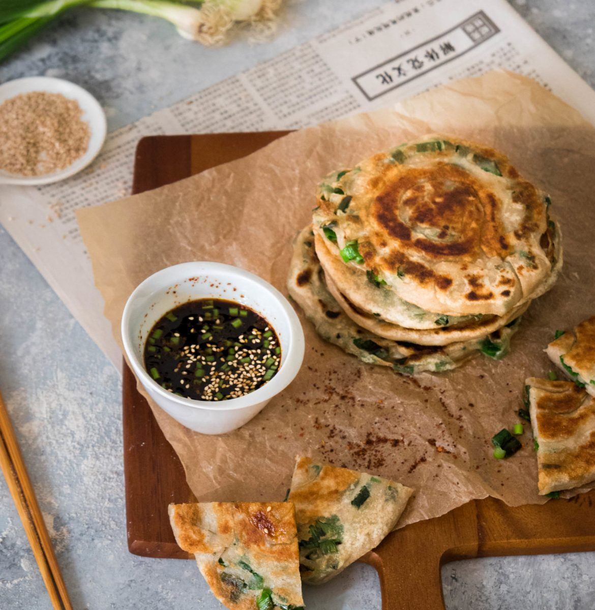 Scallion pancakes {vegan}