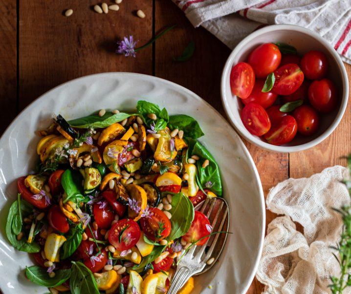 Salade de courgettes crues et rôties