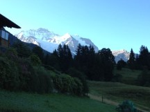 view from bedroom, first morning in Wengen