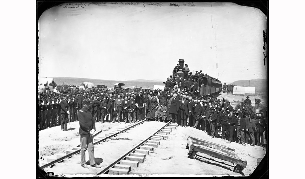 Officers of the Union Pacific Railroad at the laying of the last rail at Promontory Summit, Utah, A.J. Russell