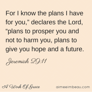 "For I know the plans I have for you,"" declares"