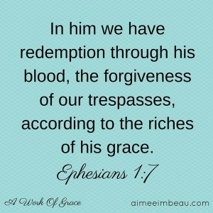 In him we have redemption through his blood, the forgiveness of our trespasses, according to the riches of his grace,