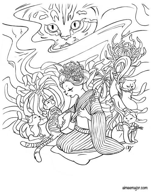 aimeemajor  yokai dream coloring book