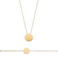Collier Tim en plaqué or 18 carats 3 microns Aimée private collection avec un médaillon martelé, bijoux tendance, mode