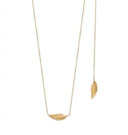 Collier Flore plaqué or 18K 3 microns avec feuille devant et dans le dos Aimée Private Collection tendance, bijoux fantaisie mode