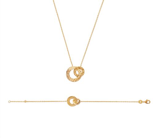 Collier Clems en plaqué or 18K 3 microns 2 anneaux Aimée Private Collection bracelet femme influenceuse bijoux fantaisie