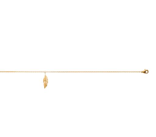 Chaine de cheville Amy plaqué or 18k 3 microns feuille Aimée Private Collection nouveau modèle influenceuse tendance élégance belle bague
