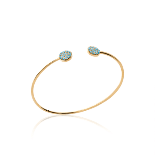Jonc Mire en plaqué or 18K 3 microns micro serti de turquoises Aimée Private Collection bracelet femme influenceuse bijoux fantaisie