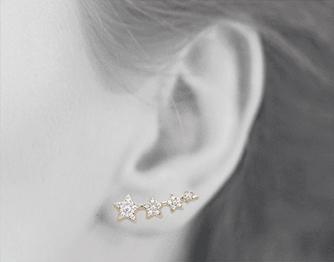 Boucles d'oreilles Star plaqué or 18K 3 microns micro serti Diamants Zirconium étoiles Aimée Private Collection nouveau tendance influenceuse