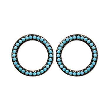 boucles d'oreilles Caraca en argent 925 rhodié et turquoises Aimée Private Collection nouveau modèle tendance