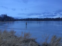 Urban Adventures: biking across a frozen lagoon in Downtown Anchorage
