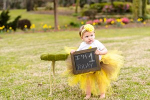little blonde haired girl standing by green chair at tryphenas garden wedding venue holding sign for one year photography session