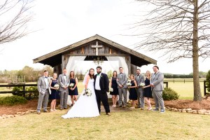 Middle Georgia Wedding, Plantation Farms wedding, bride and groom, wedding day, farm wedding, garden wedding, bridal party standing in field in front of barn