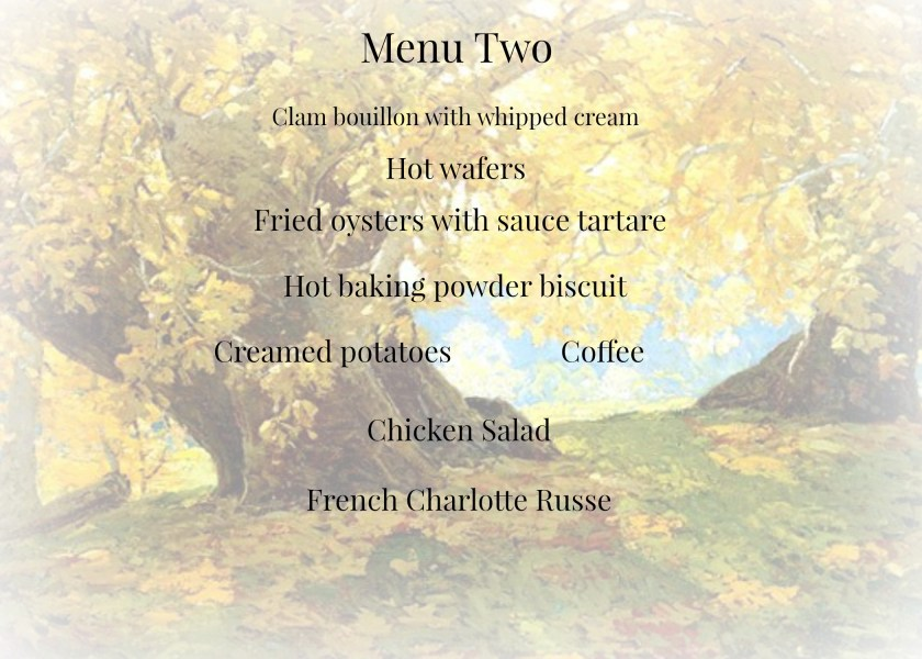 Autumn Supper Menu 2