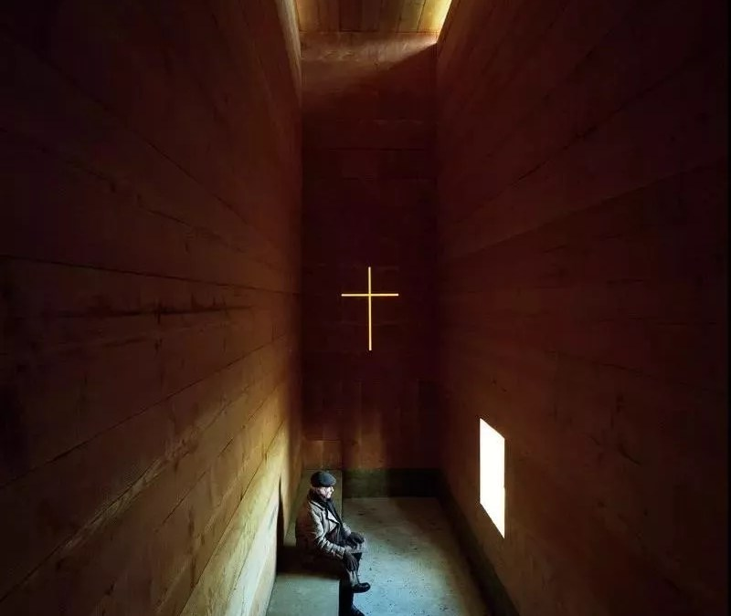 A Meditation Church Constructed out of 61 Round Wooden Trunks constructed by Architectural Designer John Pawson