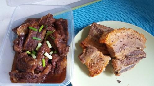 honey garlic beef and crispy pork belly