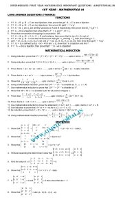INTERMEDIATE FIRST YEAR MATHEMATICS IMPORTANT QUESTIONS