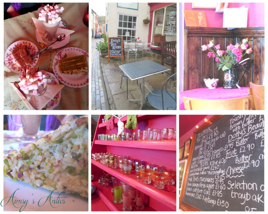 Various pictures in a grid from Dott's Tearoom in Staithes