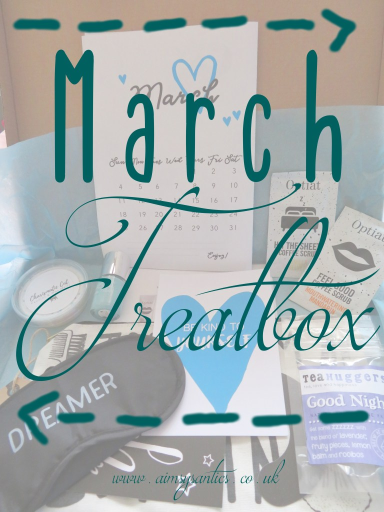 "Faded picture of the March treat box items with the text overlay ""March Treatbox"""