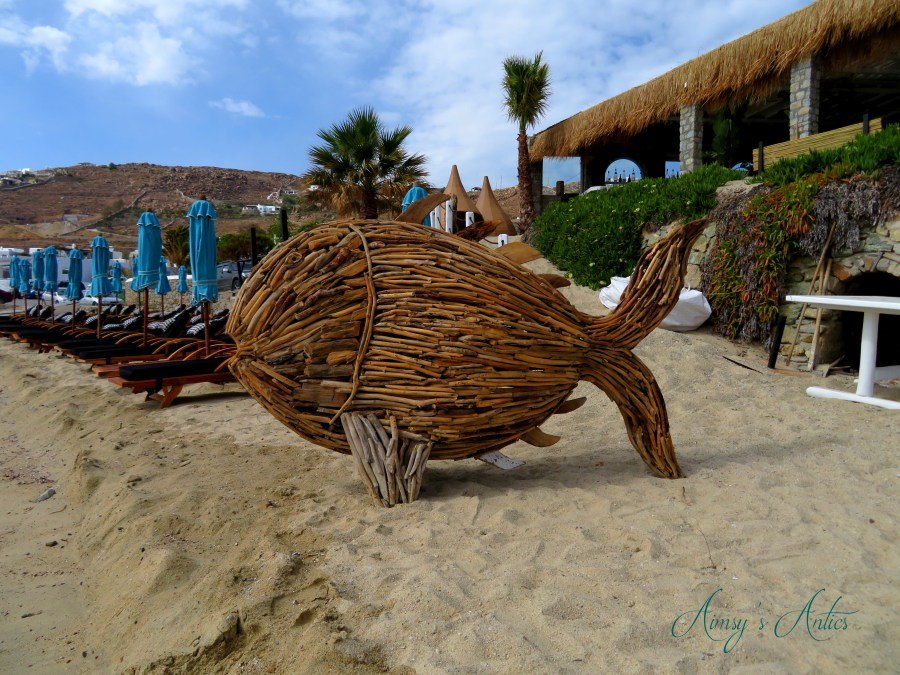 Image of wicker fish at Hippie Fish taverna in Mykonos