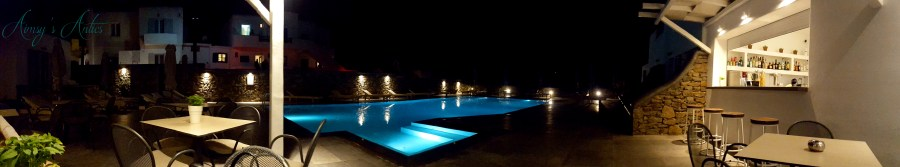 Image of Anna Maria Hotel's pool in Mykonos. A panorama picture