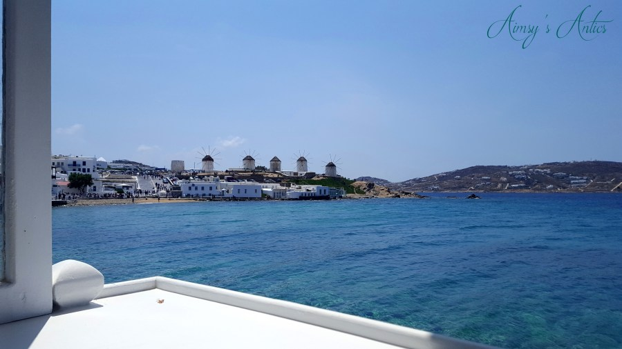 Image of the View of the windmills from Little Venice, Mykonos