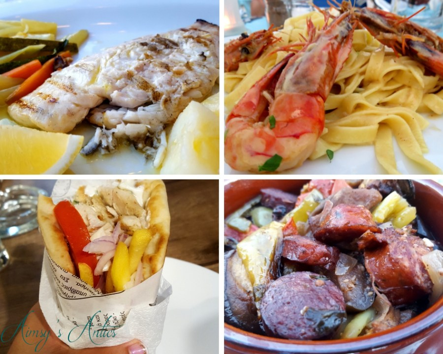 Grid picture of four various Greek meals, including grilled fish, Shrimp pasta, Gyros and Spetzofai