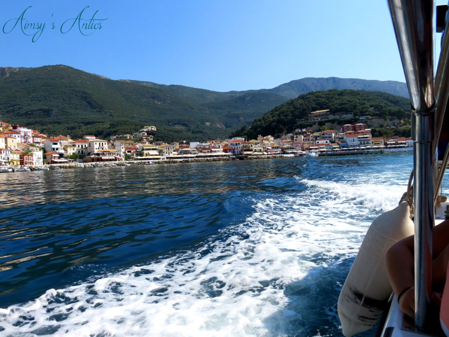View of Parga from a water taxi. Small waves