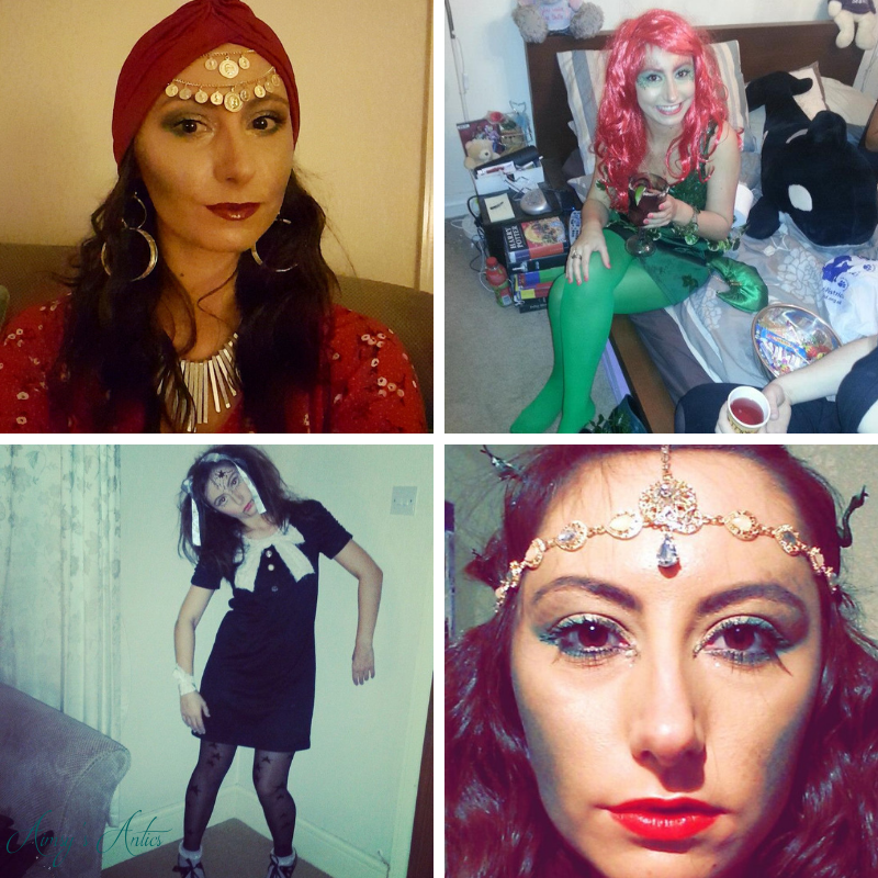 Image of a grid of four pictures. Picture 1 a woman dressed as a fortune teller. Picture 2 of a woman dressed as poison ivy. Picture 3 of a woman dressed as a broken doll. Picture 4 of a woman's face dressed as Medusa
