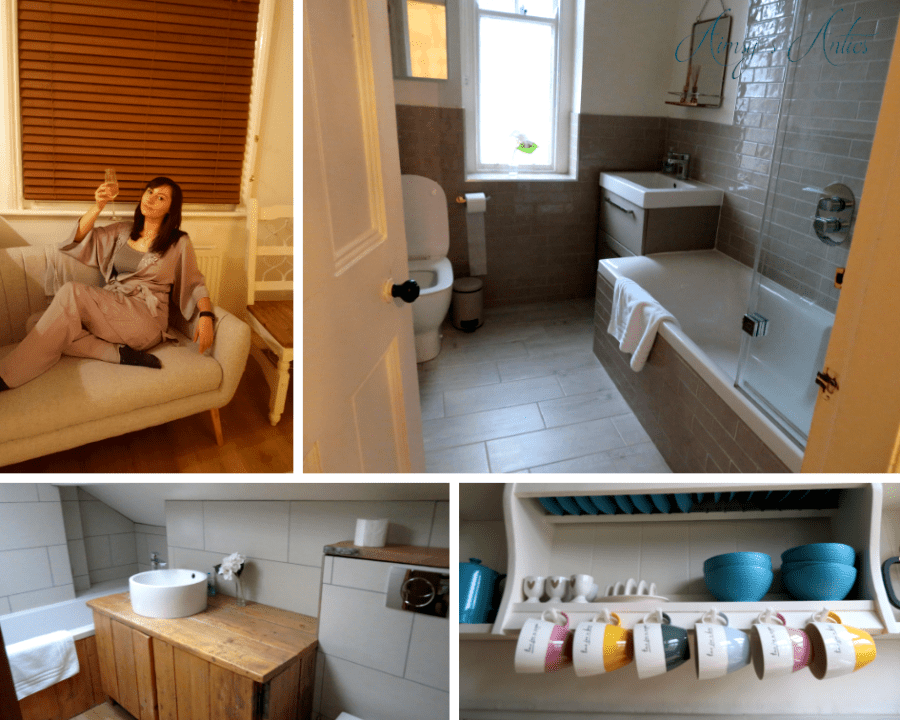 Grid of 4 photos; 1 of a woman holding up a glass of prosecco sat on a sofa, 2 and 3 different bathrooms and 4 a picture of multicoloured cups on hooks. All taken of the Fernleigh Cottage in Grange-over-Sands.