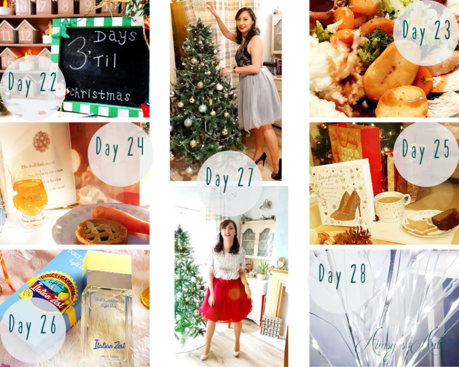 """Image of various images. These include a Christmas Countdown chalkboard with """"£ days 'till Christmas"""" written on, a Christmas dinner on a plate, a mince pie with a carrot on a plate and a shot of Whiskey, a cup of coffee with a gingerbread and Christmas card with gifts and tree in the background. An image of Dolce & Gabbana Italian Zest scent, white Christmas tree light branches and two photos of a woman in two types of tulle skirts, one wine colour and one grey colour, both with Christmas trees in background."""