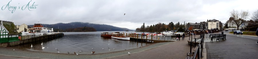 Panorama view of Bowness-on-Windermere in the Lake District.