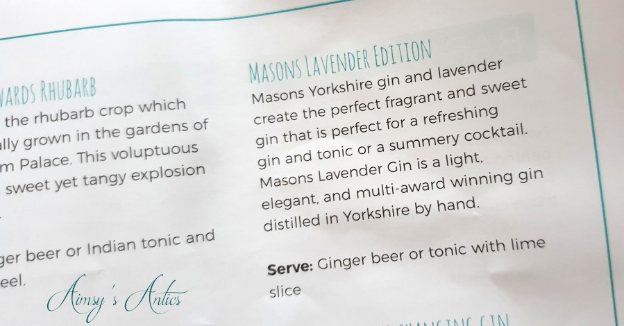 Page of the prosecco and gin festival brochure / booklet, detailing Masons Lavender Edition gin.