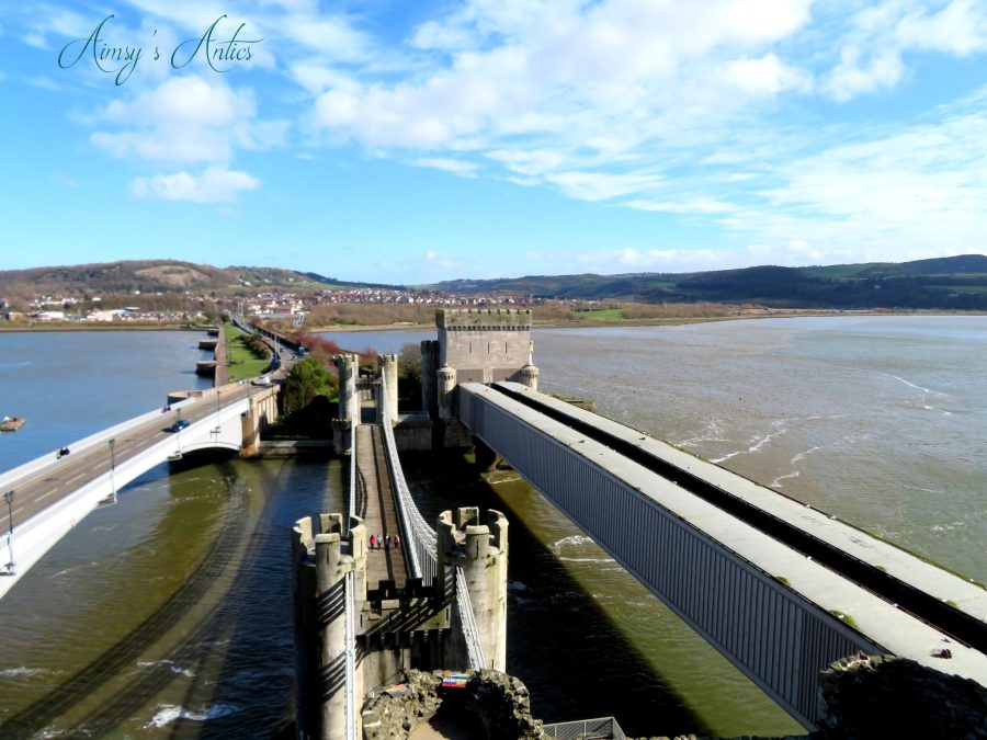 View from Conwy castle over looking the suspension bridge and trainline