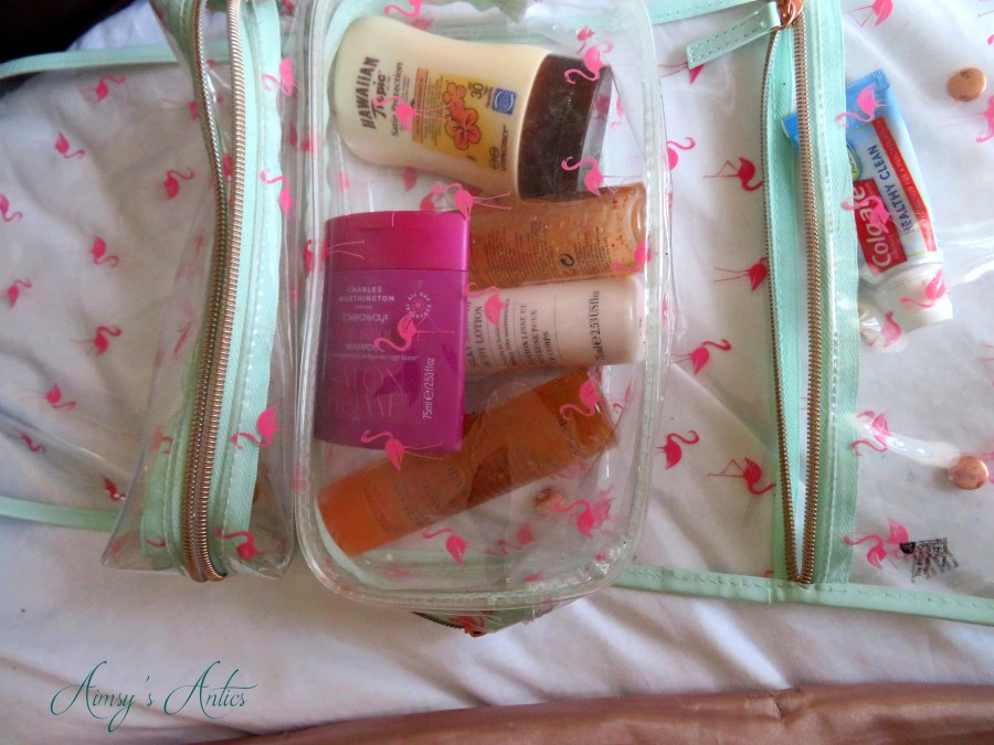 Several toiletries including shampoo, body wash, sun cream and toothpaste in a fold-able toiletry bag.