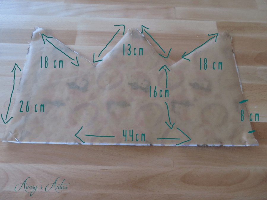 Template for the crown shaped cushion, outlining the various measurements to make the template