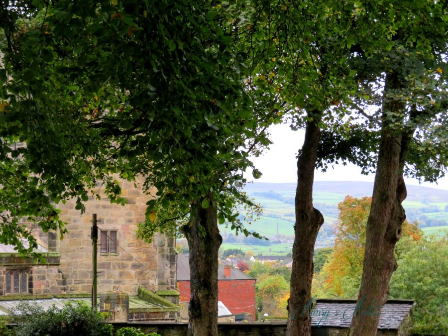 View from Skipton Castle, overlooking the town and moors in the background.