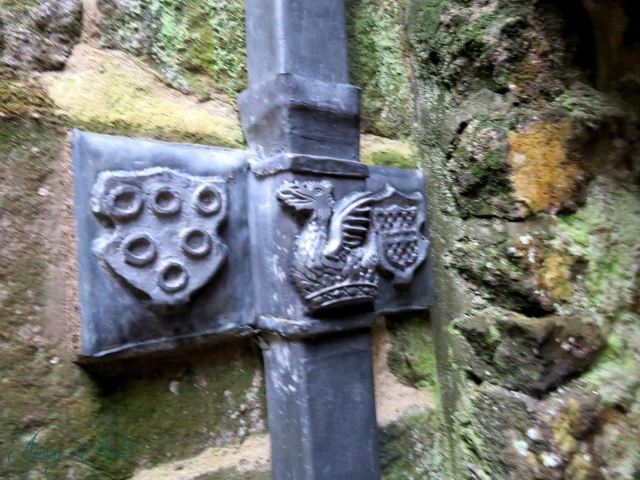 Metal work of a dragon in Skipton Castle