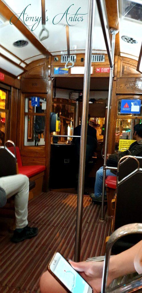 Inside Tram 15 in Lisbon