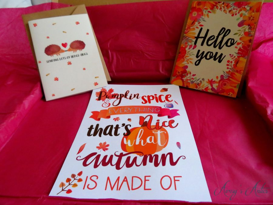 Two greeting cards and an autumn themed art card
